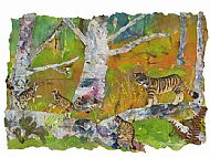 wild cats collage art