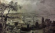 The first Chain Bridge across the Tyne at Blaydon