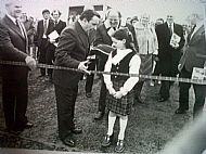 Caroline Lyall Hyde about to cut the ribbon to open the Bridge.