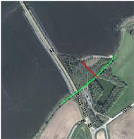 The approximate original line of the coast and the location of the pier, showing the extent of the infill and planting.