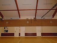 The original front roof had 2 flat roof sections with windows lighting the interior of the hall.