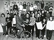 Stuart Greaves sits astride the new mountain bike which was presented to him to mark his retirement from Culbokie Primary School after 15 years service as head teacher in 1997.  Courtesy of Ross-shire Journal.