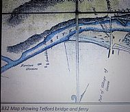 Scudell ferry 1832, showing proposed railway bridge and original Telford Bridge