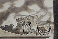 Shadowplay on mantelpiece glass