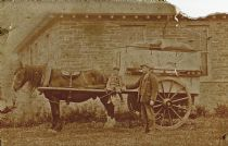 HPA017 -  George Sinclair, James Sinclair.Horse-drawn grocery van (outside Drill Hall, Lady) c.1905