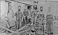 HPA411   Blacksmith's Shop at Nearhouse L - R: John Sinclair (Appiehouse), Jamie Scott, William Leslie (Wheelwright from Westray),  Peter Skea (brother of John Skea), John Fotheringhame (born 1850), John Skea