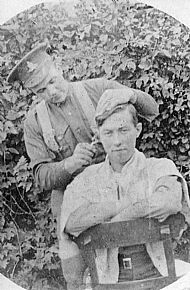 HPA377   Hair cutting at Scar (WWI)