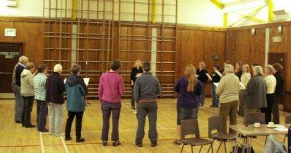 the workshop singers started off being fairly spaced out across the hall