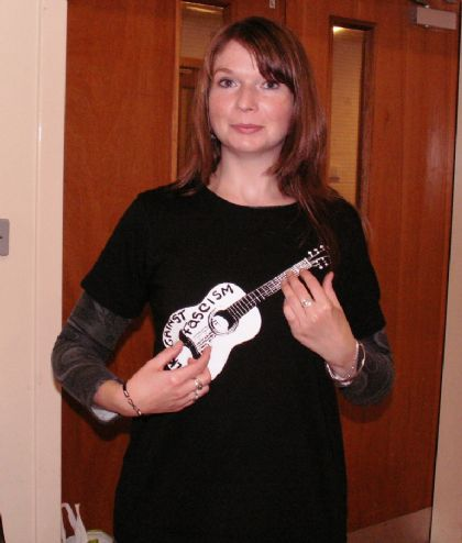kirsty models the folk against fascism t-shirt (only �15, available from us) - click the photo to be taken to the website
