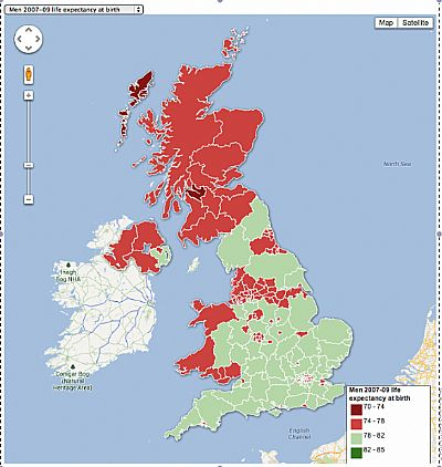map showing life low expectancy in scotland