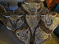 highland cow wooden hearts various