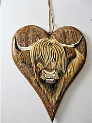 Large wooden heart highland cow
