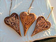 medium size highland cow hearts wooden