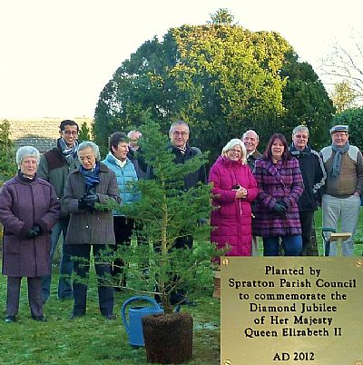15 january 2012 at an early celebration of the diamond jubilee of her majesty the queen, barry frenchman, chairman of spratton parish council, planted a cedar of lebanon in the churchyard.