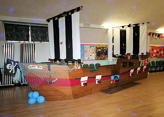 a children's party (with a pirate ship)