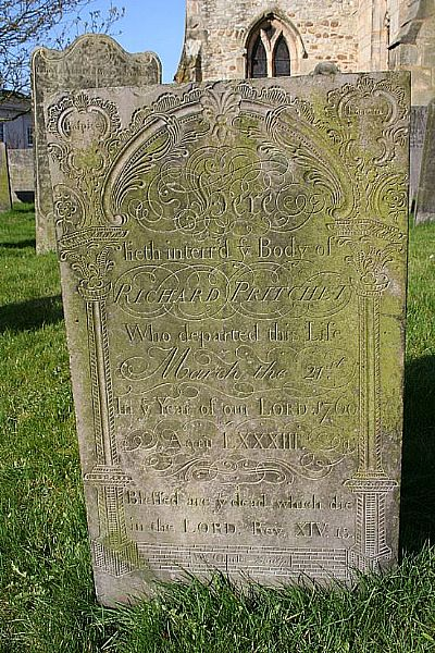 richard pritchet's gravestone - click for a larger image