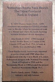 plaque from smith's bank, nottingham (now natwest)