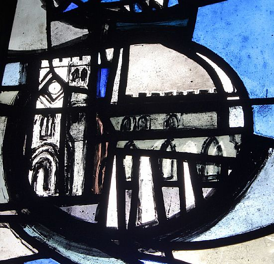 portion of stained glass window