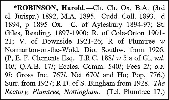 robinson's entry in crockford's clerical dictionary