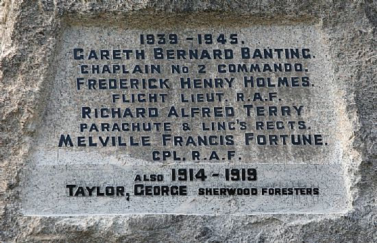 war memorial - second world war names