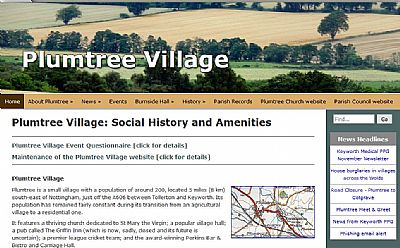 plumtree village website screenshot