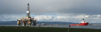 rig underway, cromarty firth.