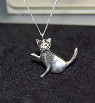 Sterling Silver hand carved Cat