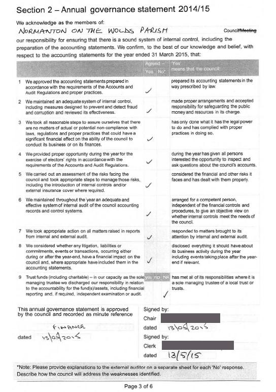 2015 annual governance statement