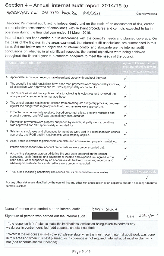 2015 internal audit report