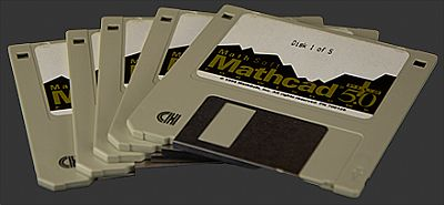image of five 3 1/2 floppy discs containing mathcad 5.0 installation files