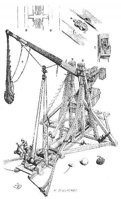 pencil sketch of a medieval counterweight trebuchet