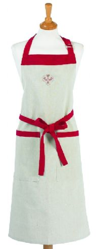 LINEN APRON WITH RED CROSS STITCH