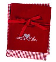SET OF TWO RED EMBROIDERED TEA TOWELS