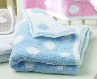 SOFTKNIT POLKA DOT BLANKET - BLUE