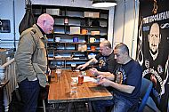 Tosh & Gilly signing book to Steve Hobley (Leeds & Hertford) at the launch
