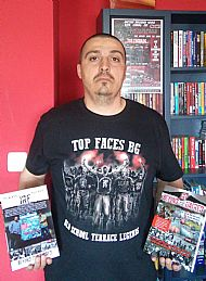 author-gilly-black-holding-jrf-bth-both book editions-english and bulgarian-wearing tfbg tshirt- home in varna