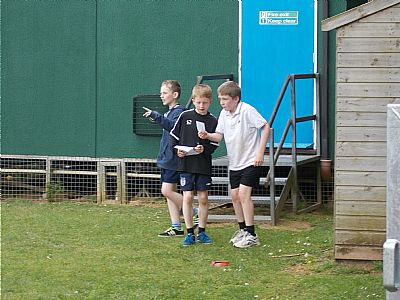 year 6 boys working well as a team.