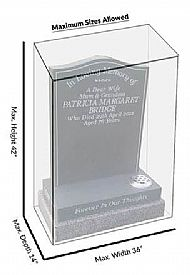 Example of how to measure dimensions for memorial headstone