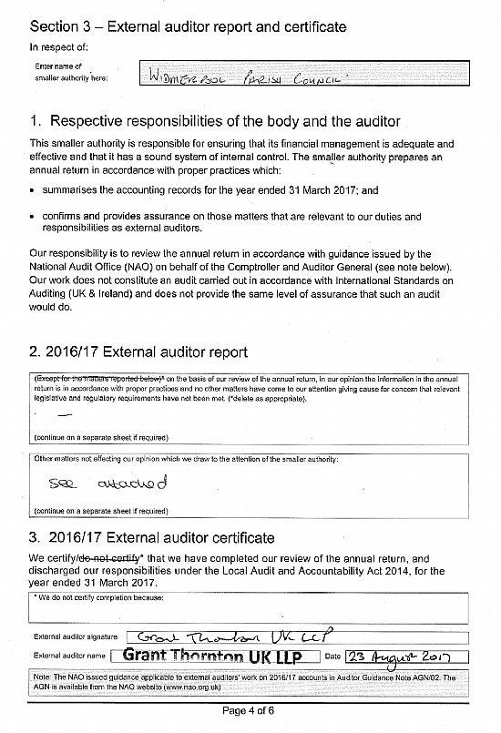 wxternal auditor report