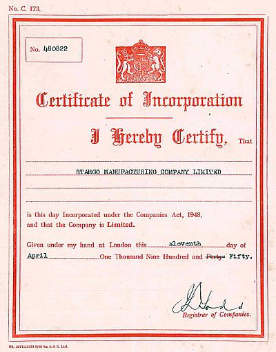 stamco certificate