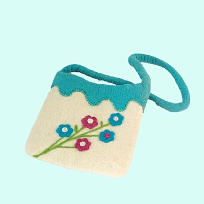 white felt shoulderbag with needlefelt flowers by roses felt workshop