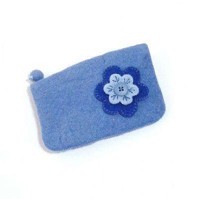 blue felt flower purse by roses felt workshop