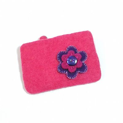 pink felt flower purse by roses felt workshop