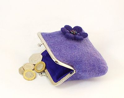 purple felt purse with flower by roses felt workshop