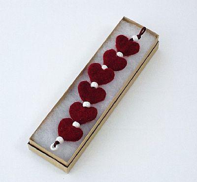 red felt heart bracelet by roses felt workshop