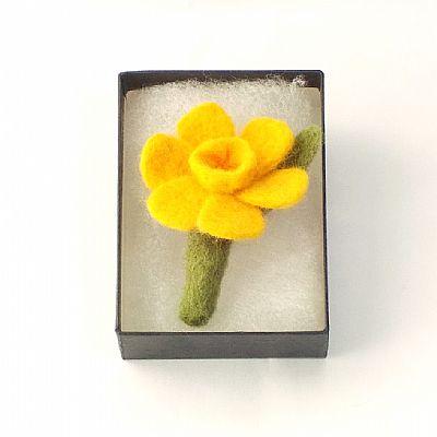 daffodil felt brooch in gift box
