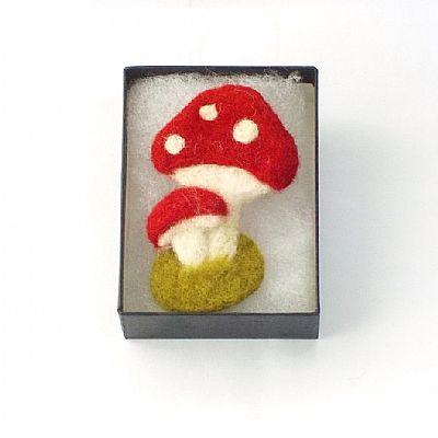 toadstool felt brooch in gift box