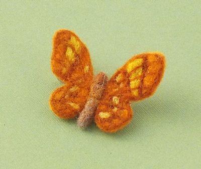 orange butterfly felt brooch by roses felt workshop