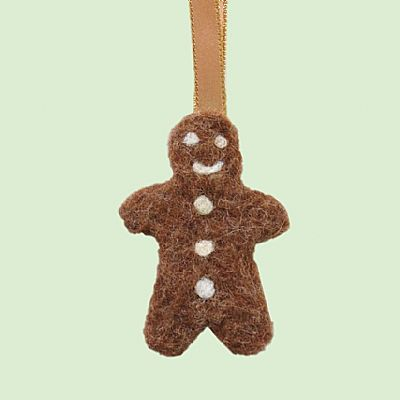 felt gingerbread man christmas tree decoration by roses felt workshop