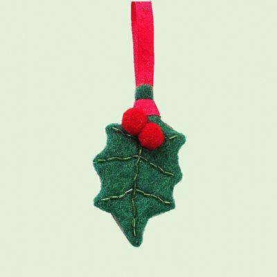 holly leaf felt christmas tree decoration by roses felt workshop